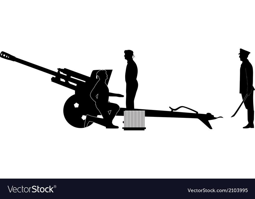 Cannon army crew vector