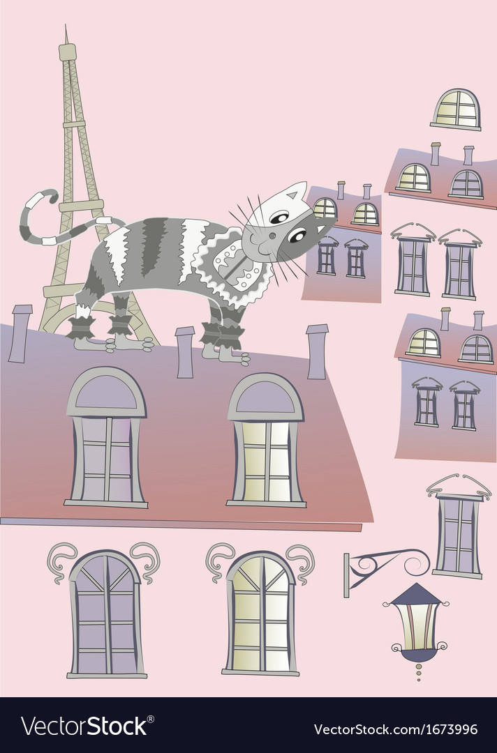 Cat on a roof of paris vector