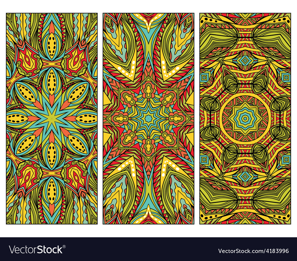 Set of cards with oriental patterns vector