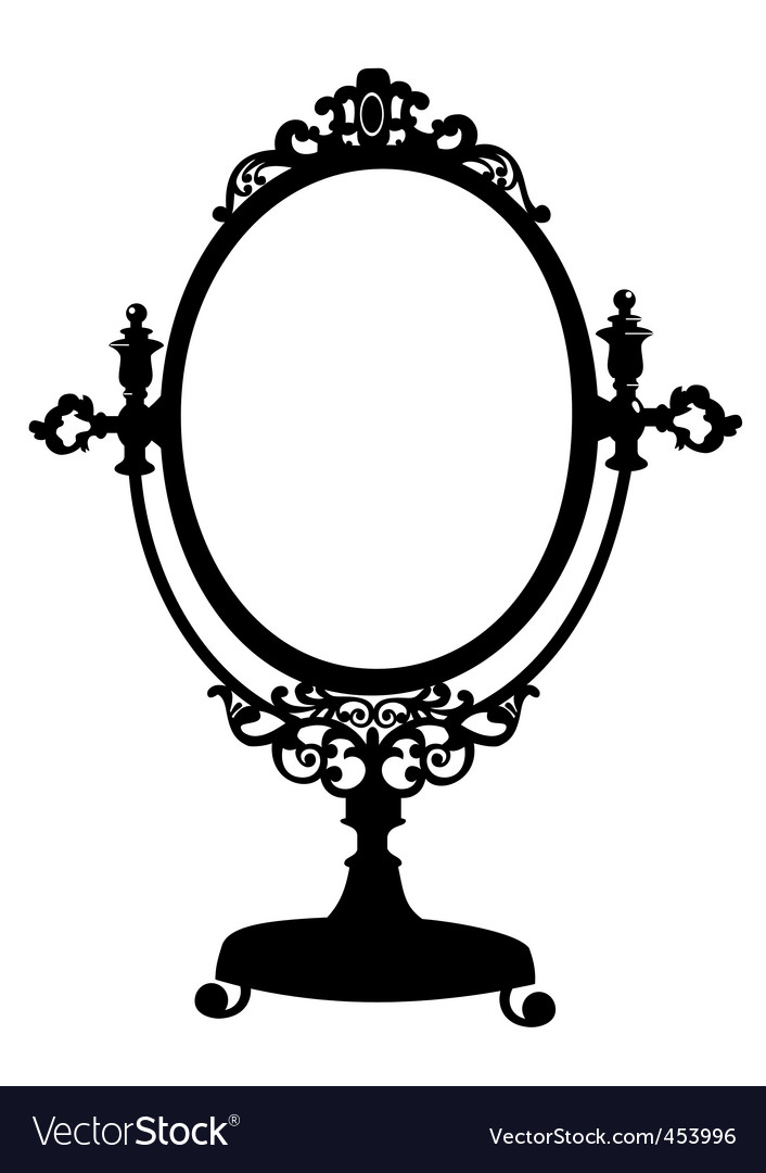 Silhouette of antique mirror vector