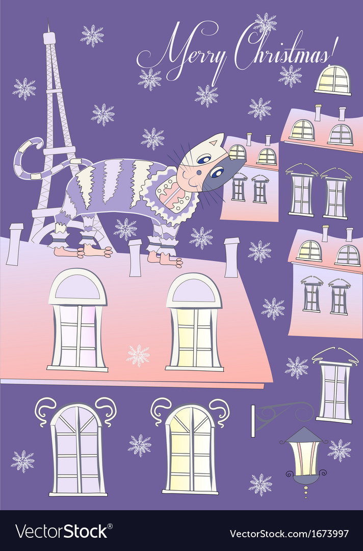 Cat on a roof of winter blue paris vector