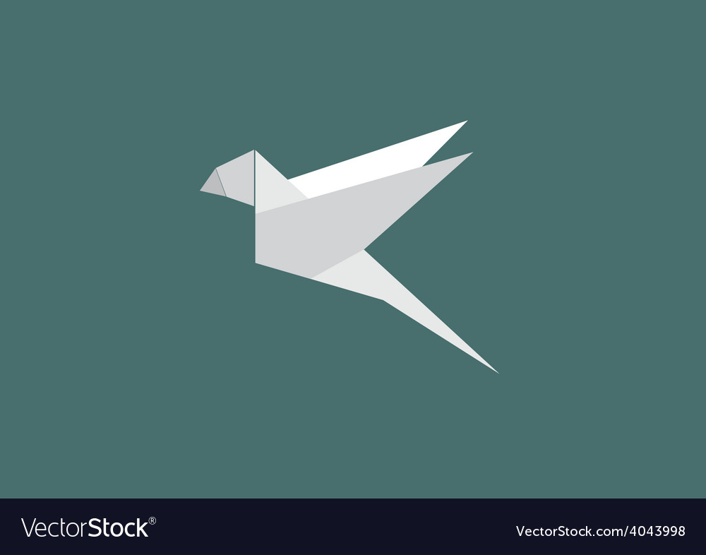Bird paper geometry business logo vector