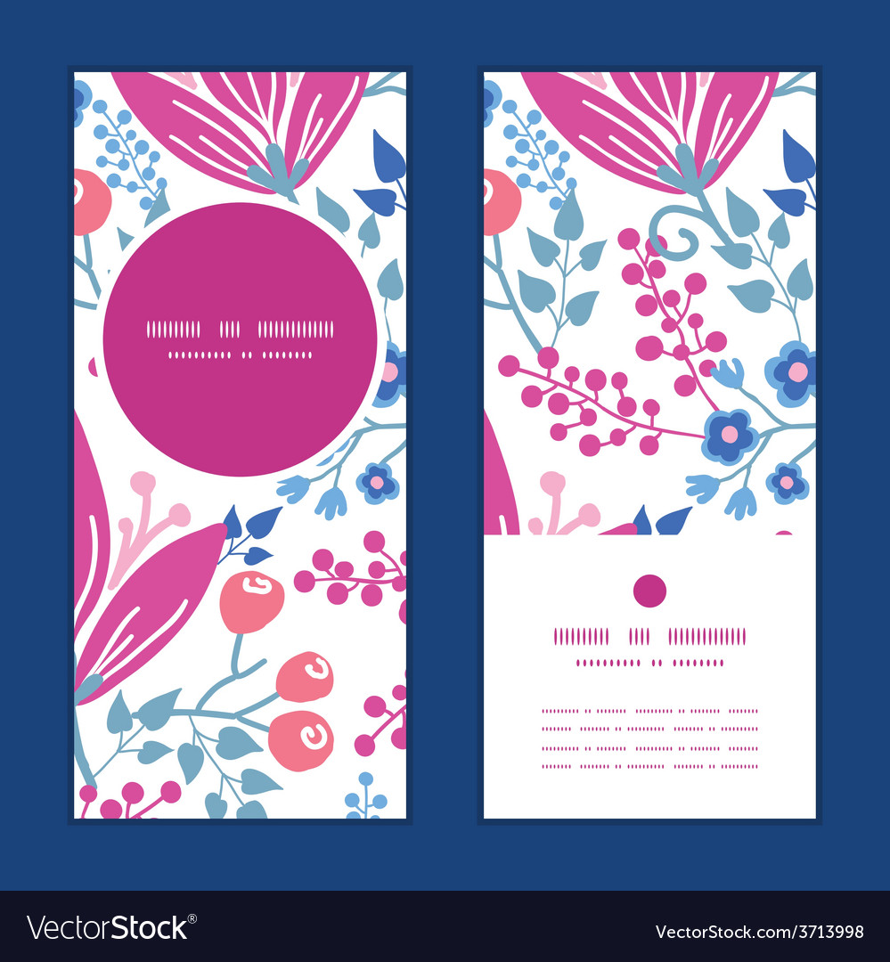 Pink flowers vertical round frame pattern vector