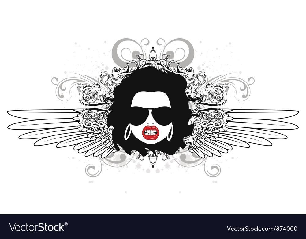 Funky face emblem vector