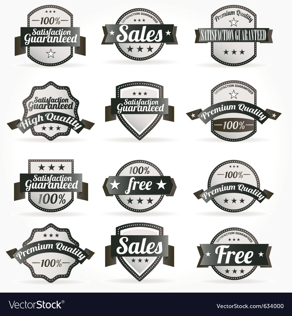 Premium quality sales free labels with retro vector