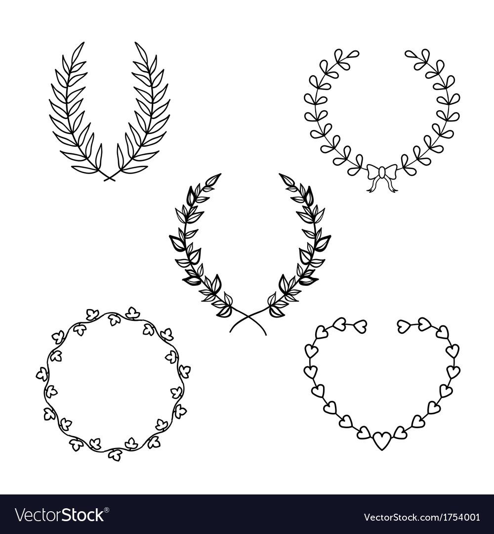 Calligraphic wreath vector