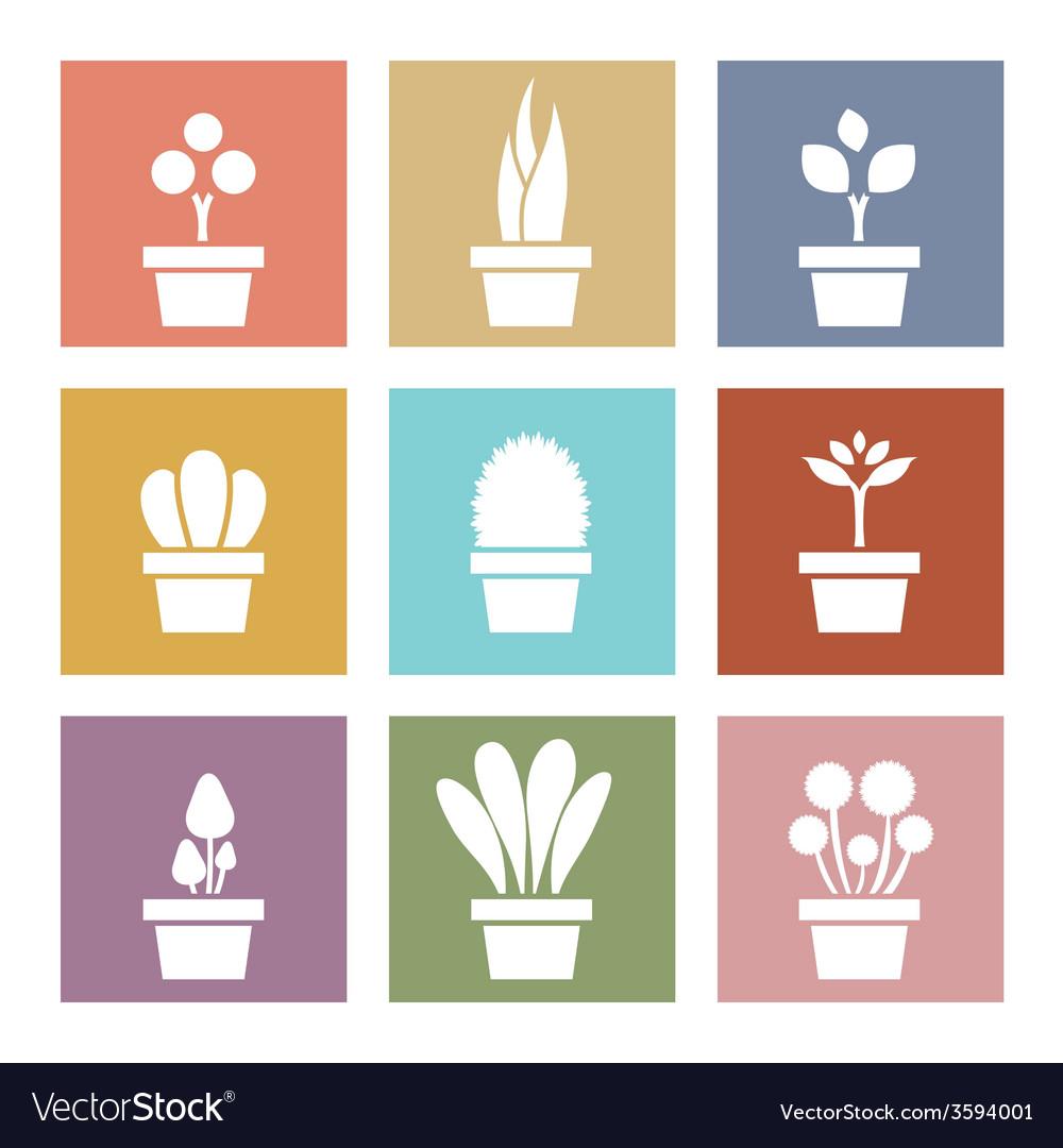 Set of white pot plants symbol vector