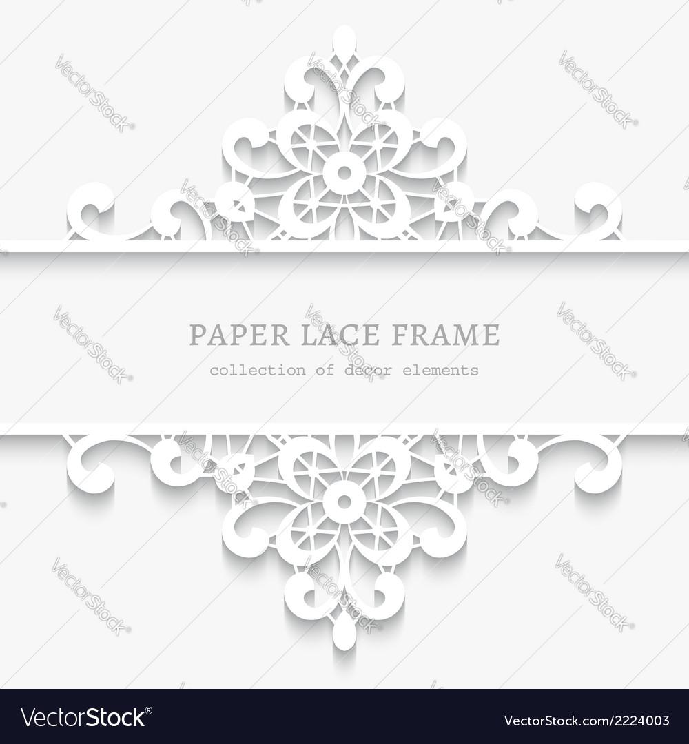 Paper lace divider frame vector