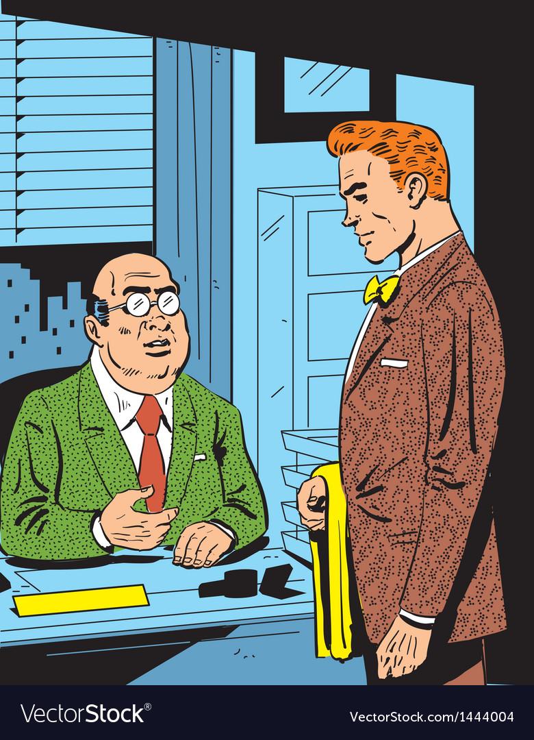 Retro office meeting vector