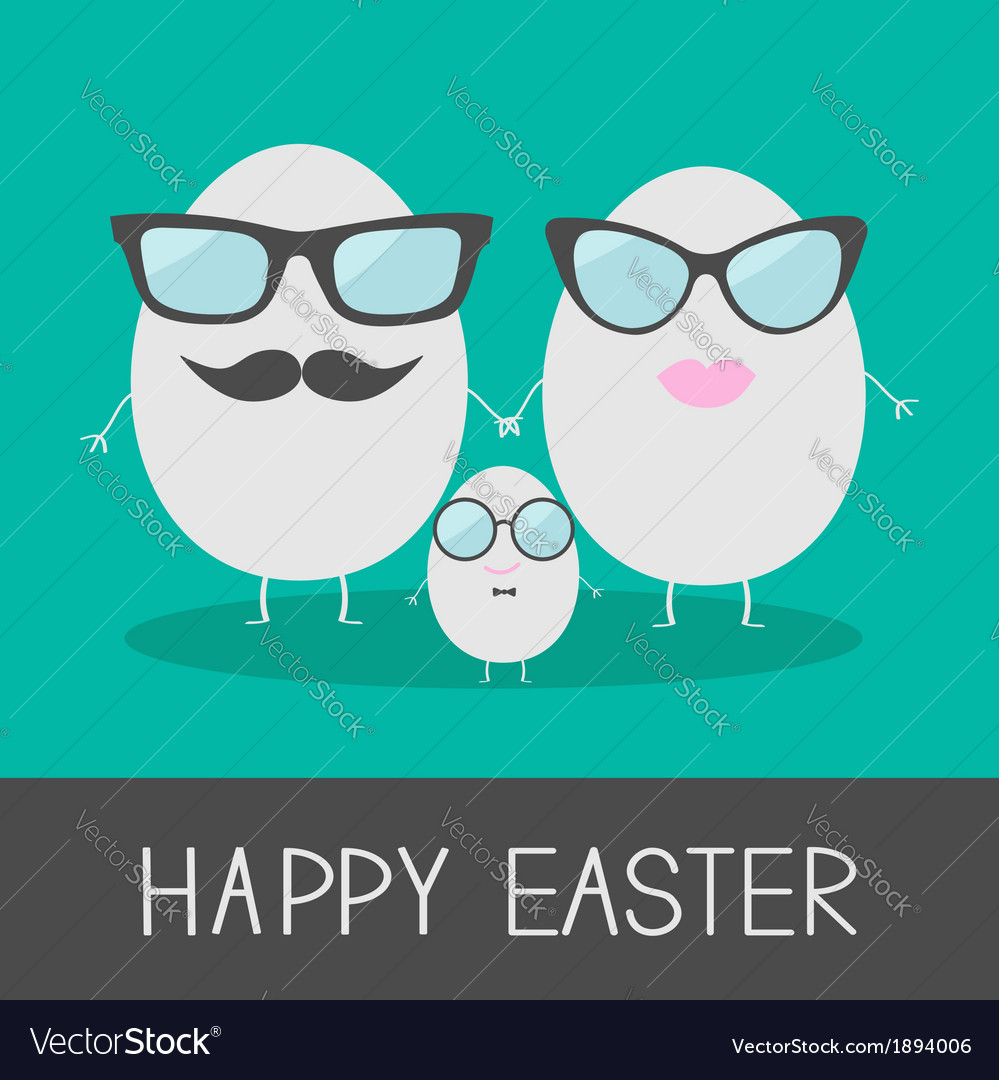 Egg easter family with lips mustaches and eyeglass vector