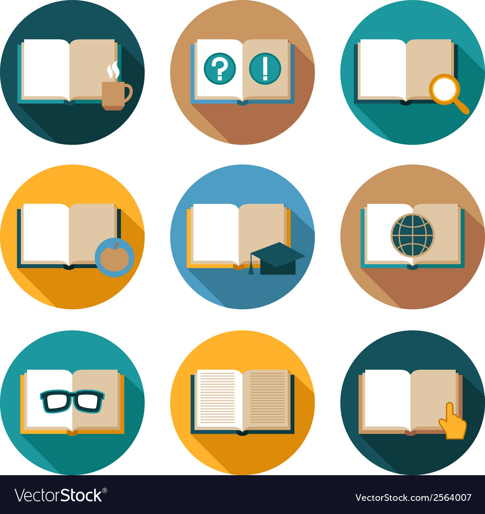 Books and symbols flat icons set vector
