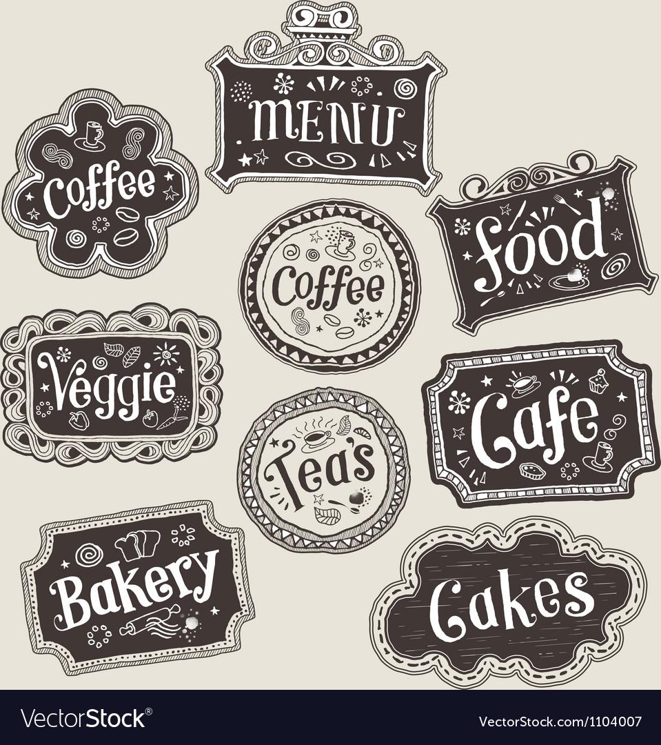 Set of doodle labels vector