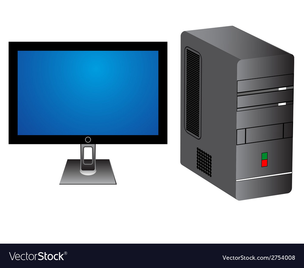 Monitor and computer tower vector