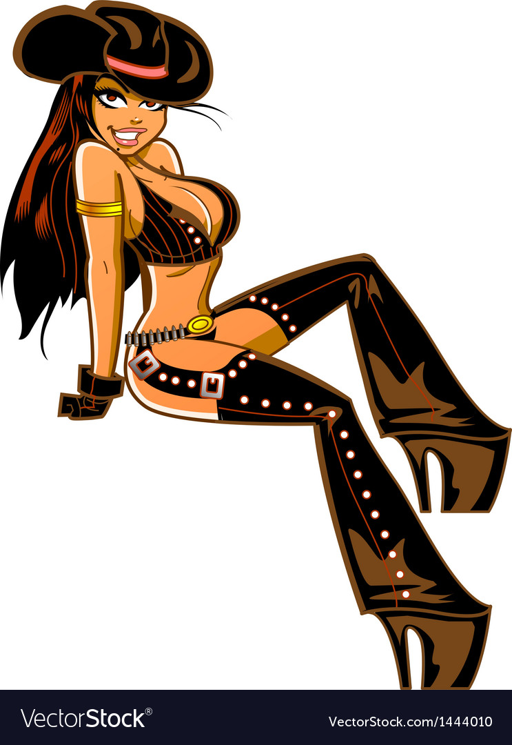 Sexy brunette cowgirl vector
