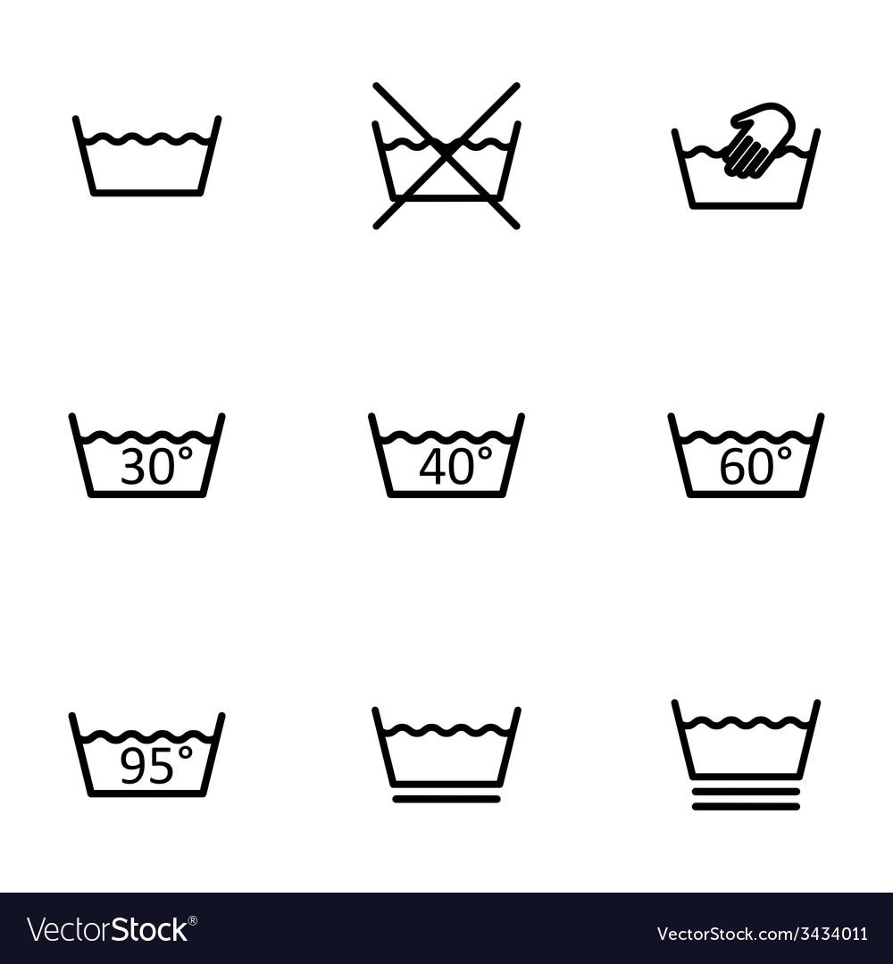 Black washing signs icon set vector