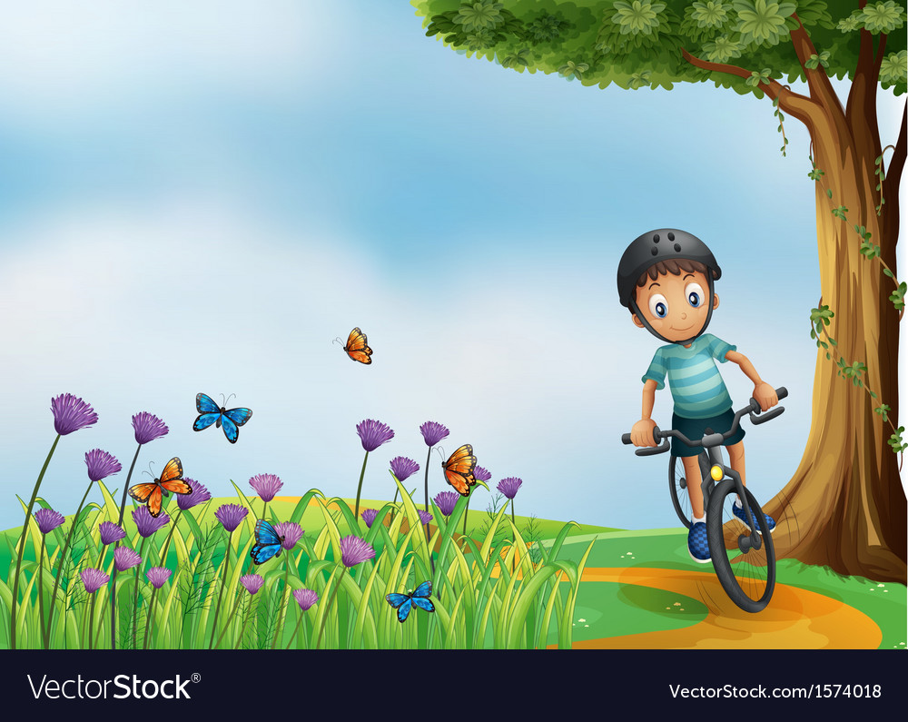 A biker biking at the hilltop with a garden vector