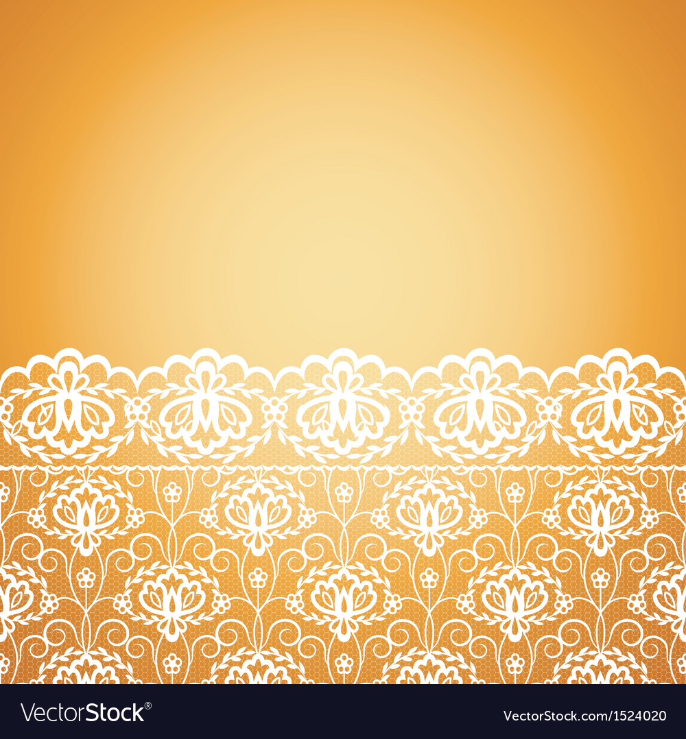 Floral seamless lace pattern on yellow background vector