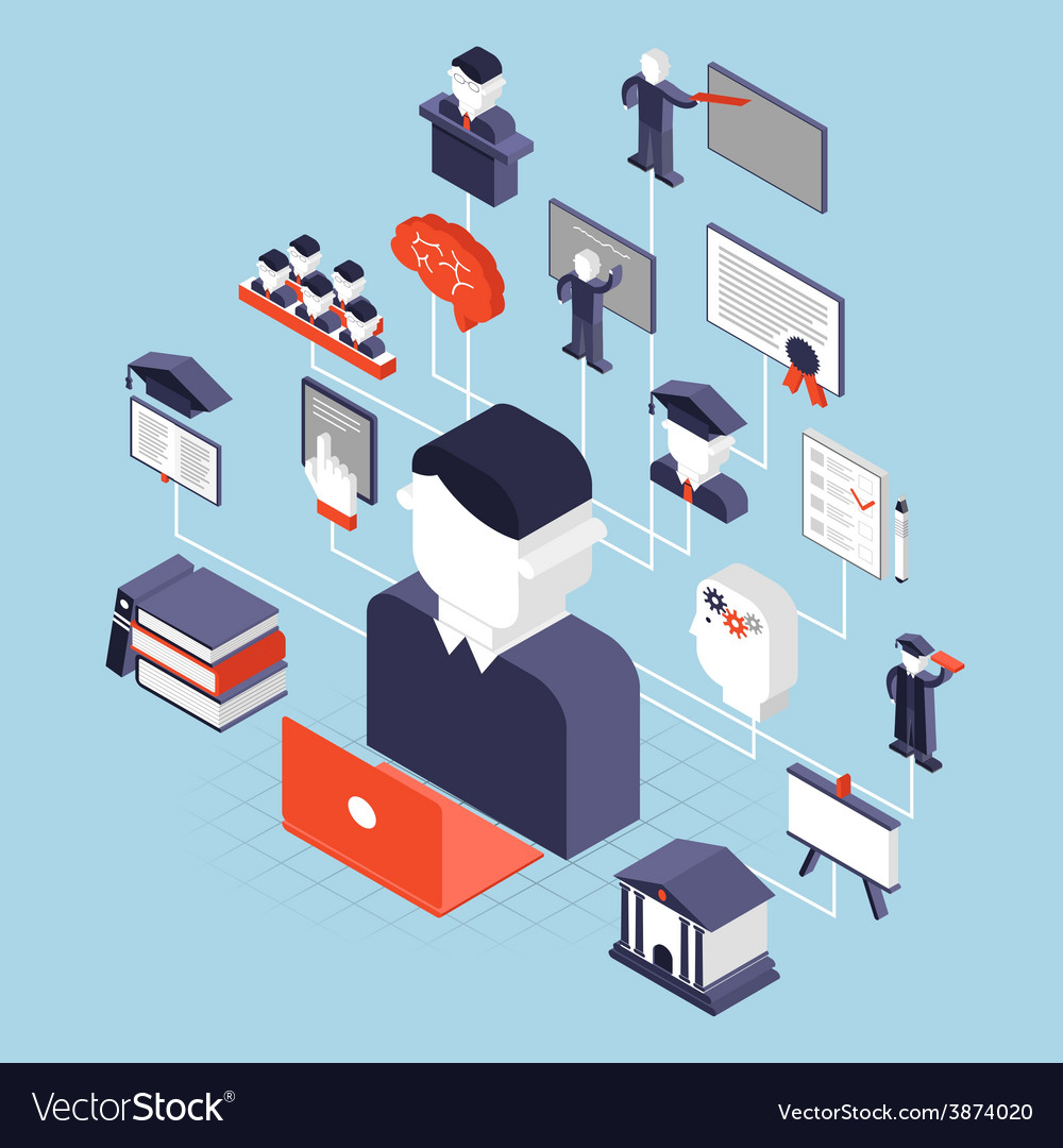 Higher education isometric vector