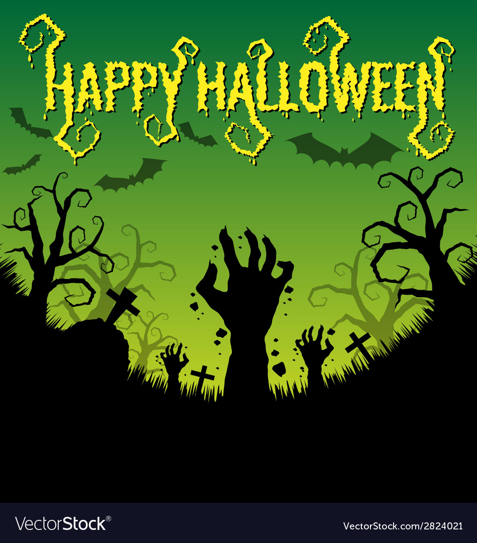 Halloween text with zombies hand vector