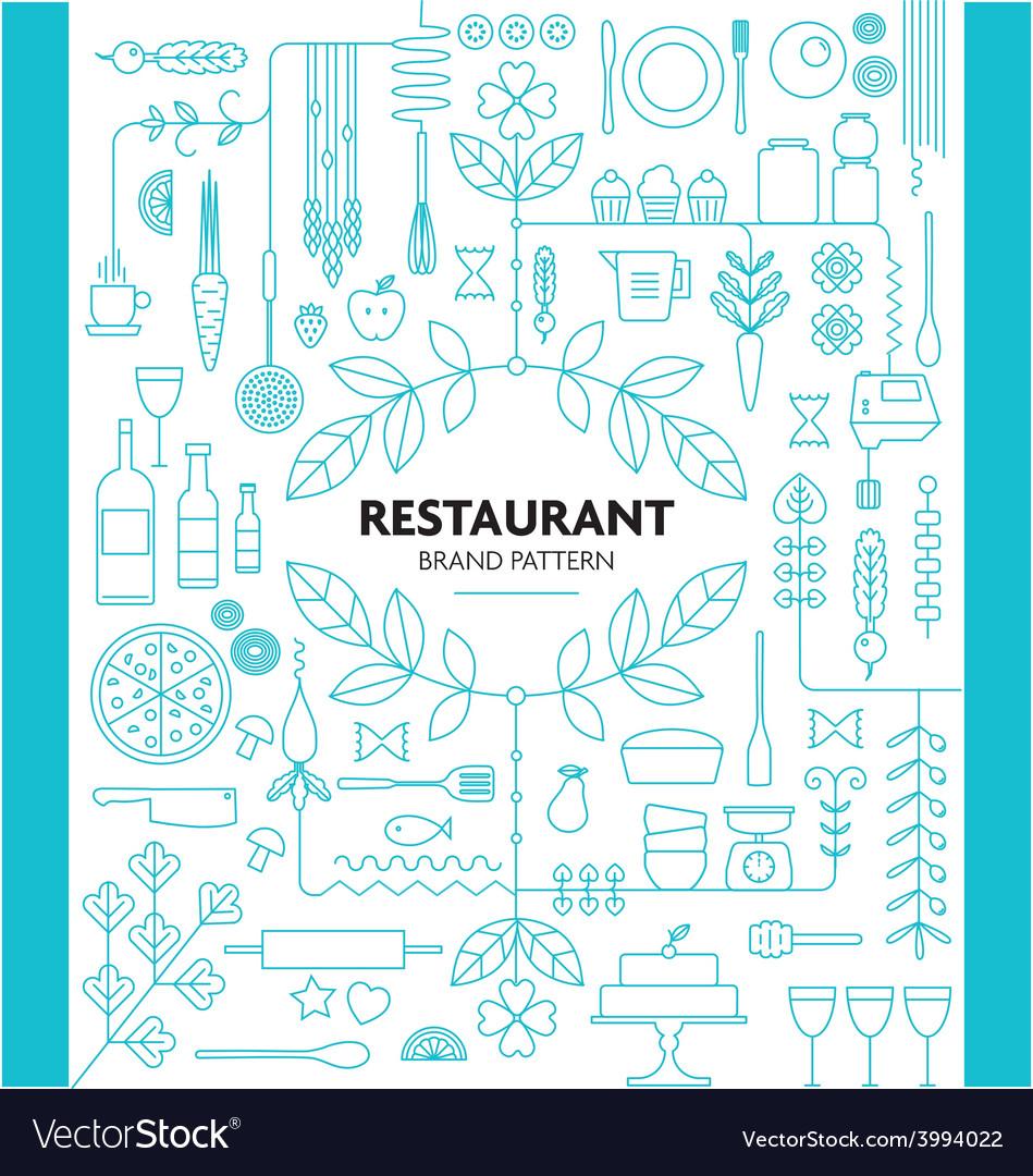 Restaurant branding line pattern design template vector