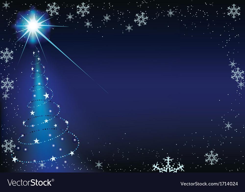 Blue glowing xmas tree vector