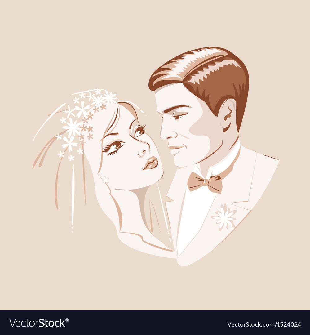 The bride and groom vector