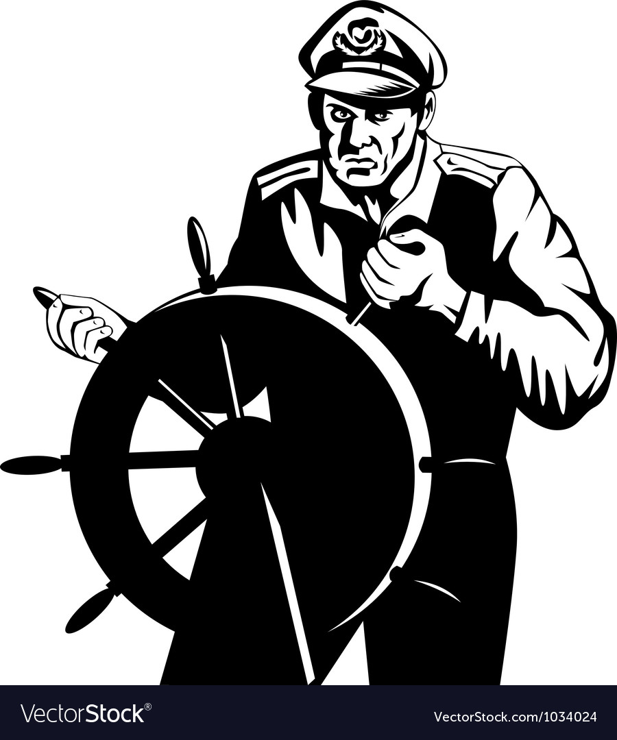 Fisherman sea captain at helm retro vector