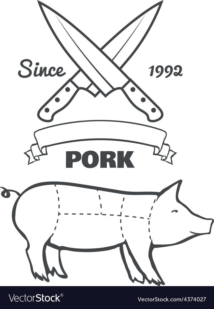 Vintage butcher cuts of pork menu chalk vector