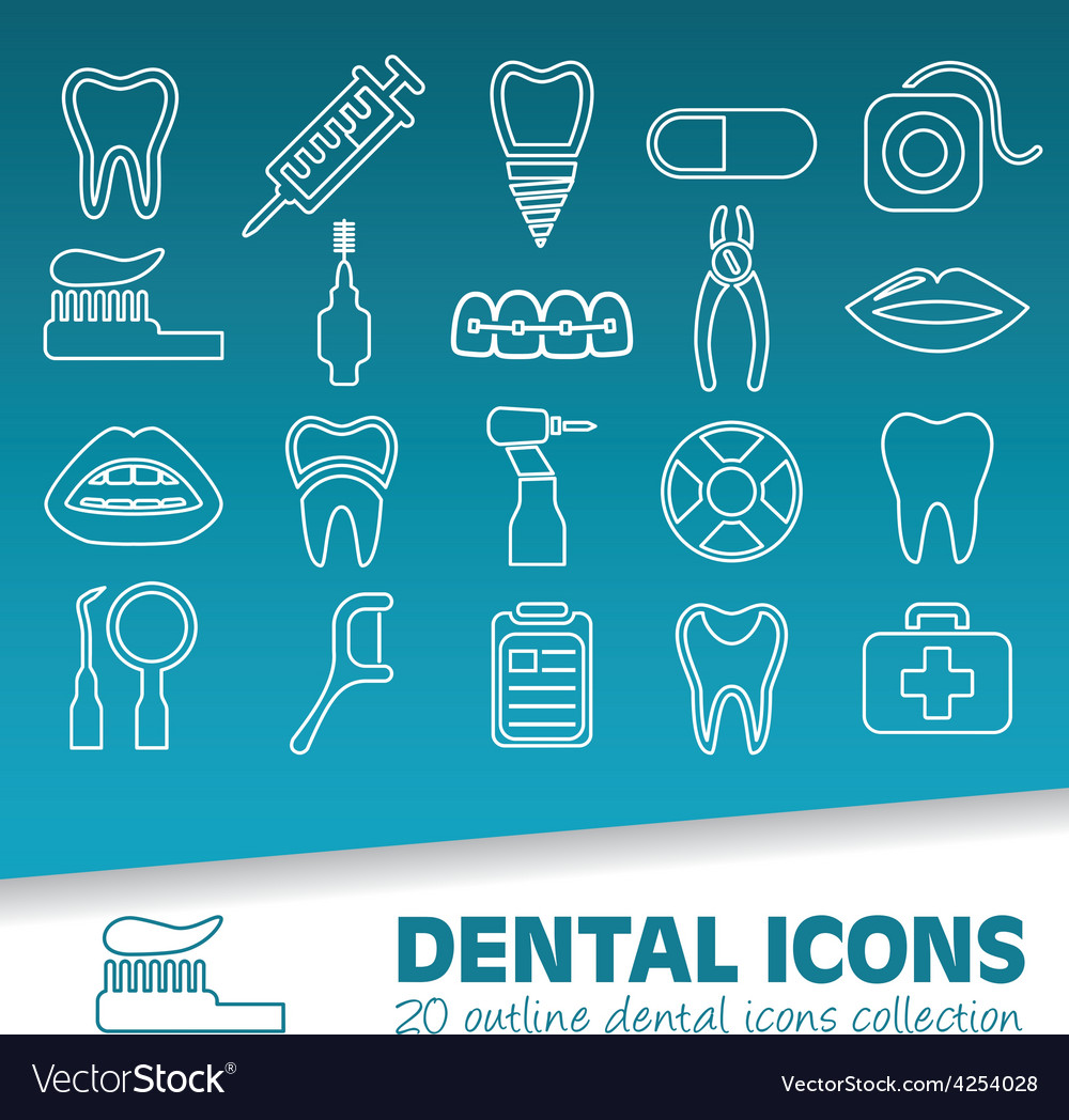 Dental outline icons vector