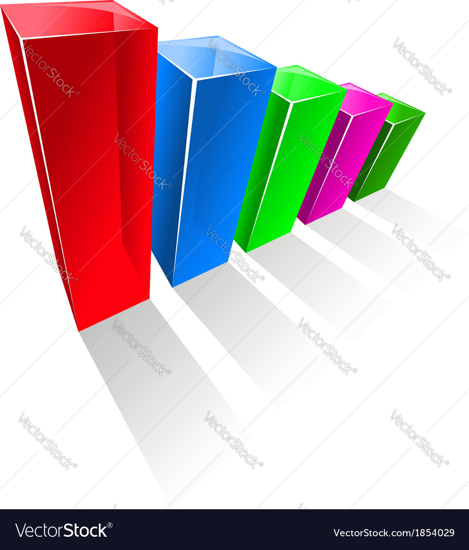 Chart with colorful glowing vertical columns vector