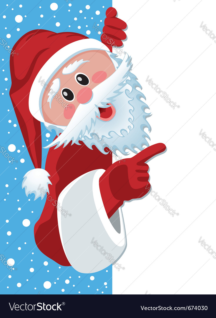 Santa claus holding blank paper vector