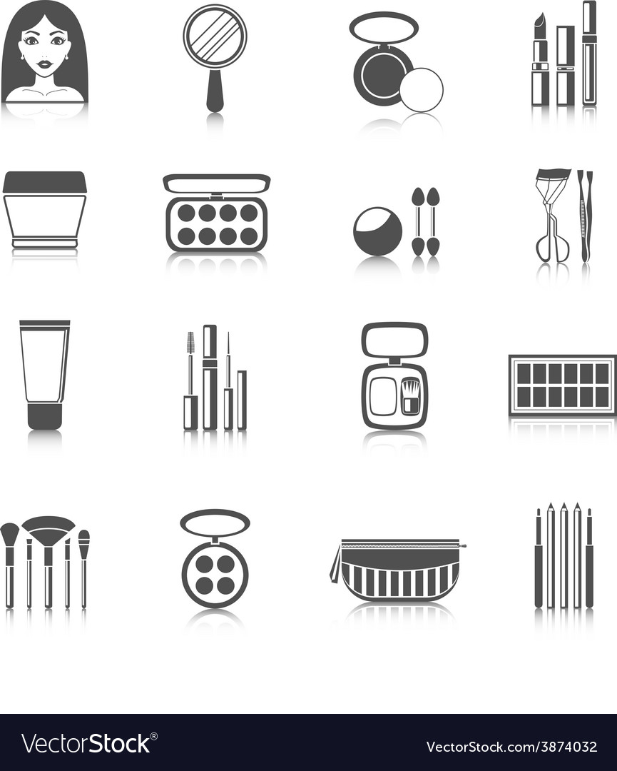 Makeup icons black vector