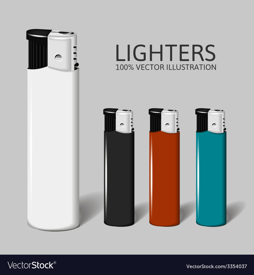 Realistic set of lighters for your brand vector