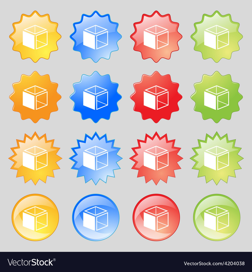 3d cube icon sign big set of 16 colorful modern vector