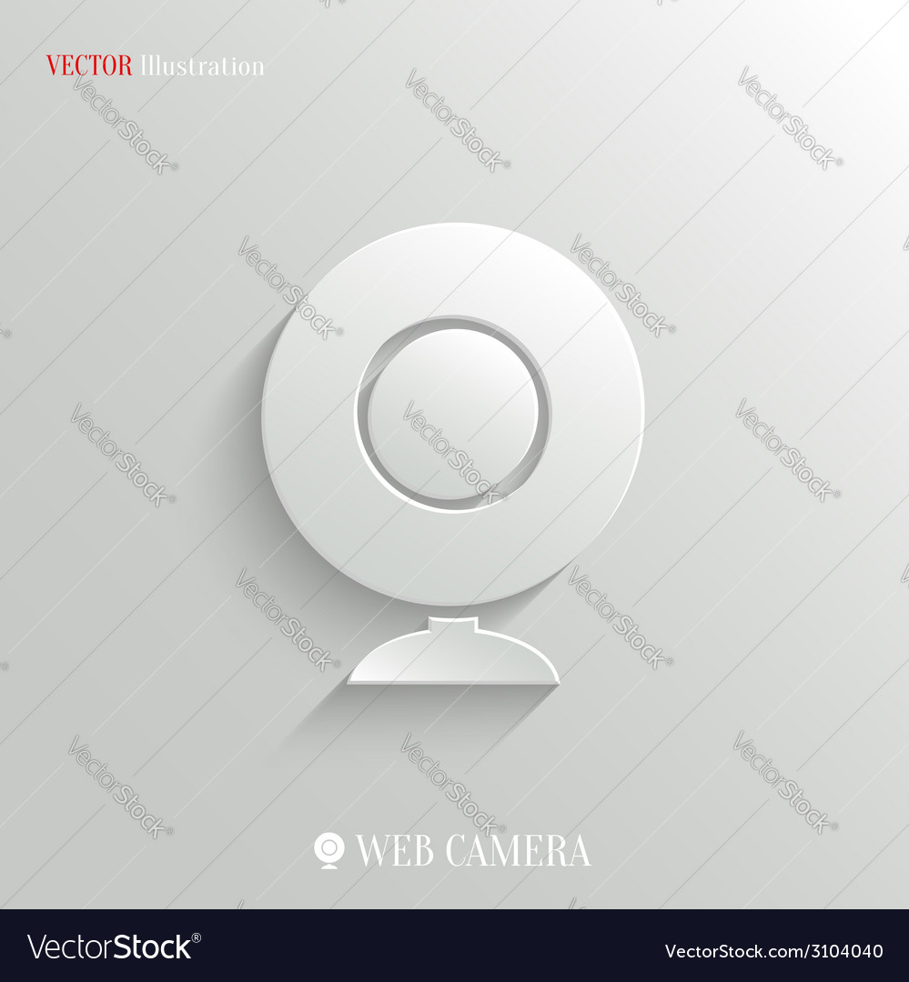 Webcamera icon - white app button vector