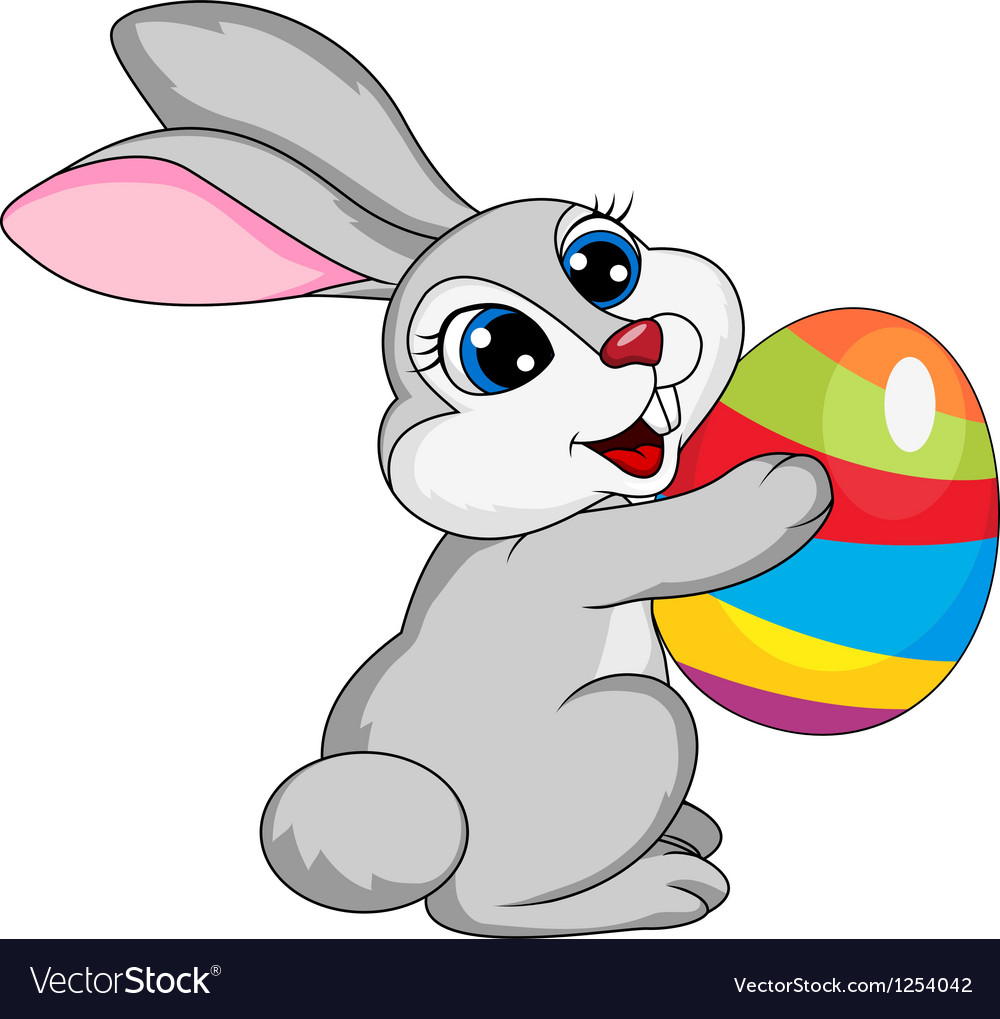 Cute rabbit holding ester egg vector