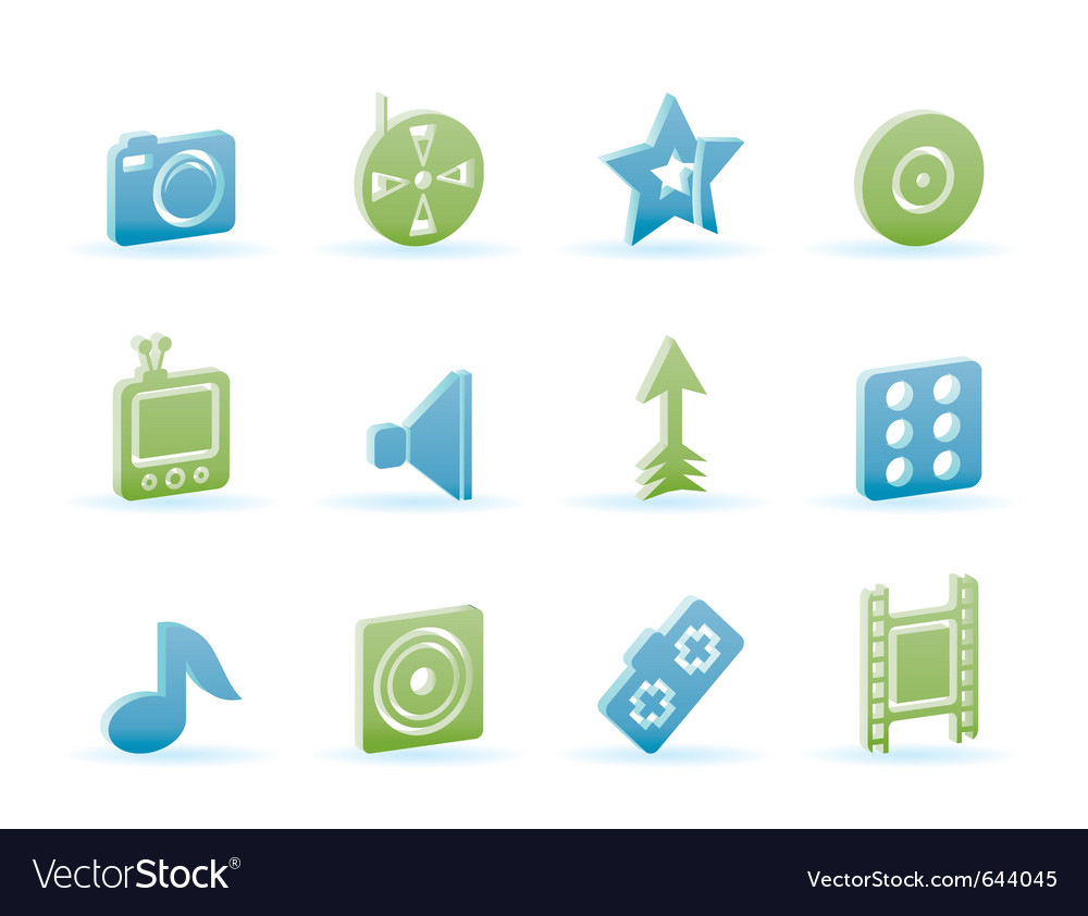 Entertainment and media icons vector