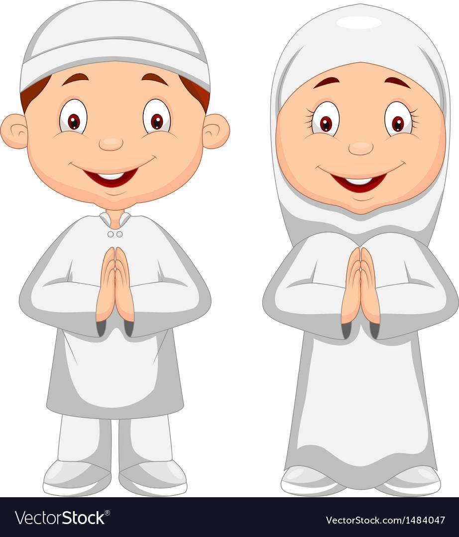 Muslim kid cartoon vector