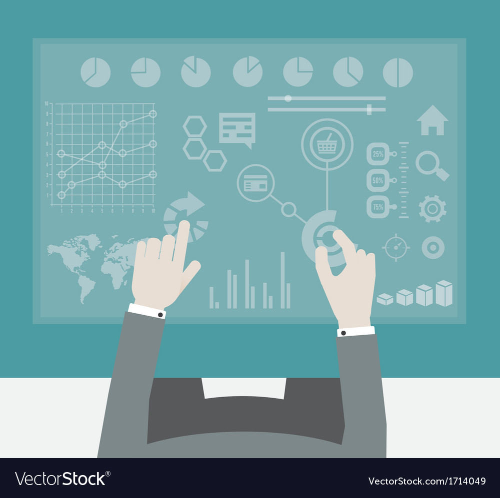 Businessman working with digital vurtual screen vector
