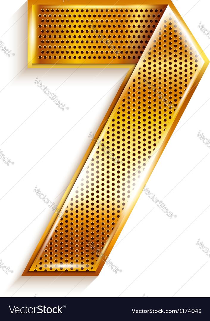 Number metal gold ribbon - 7 - seven vector