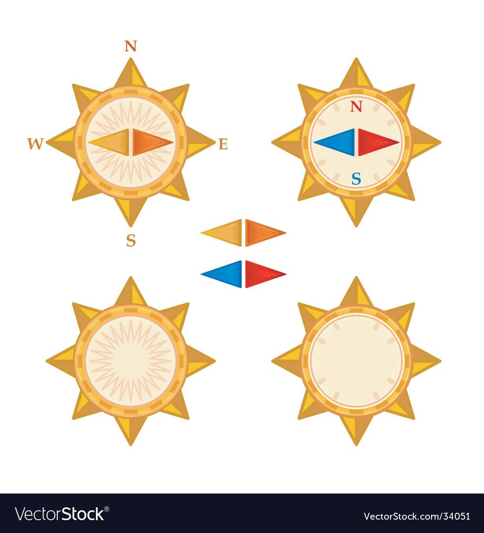 Compass with demountable arrows vector