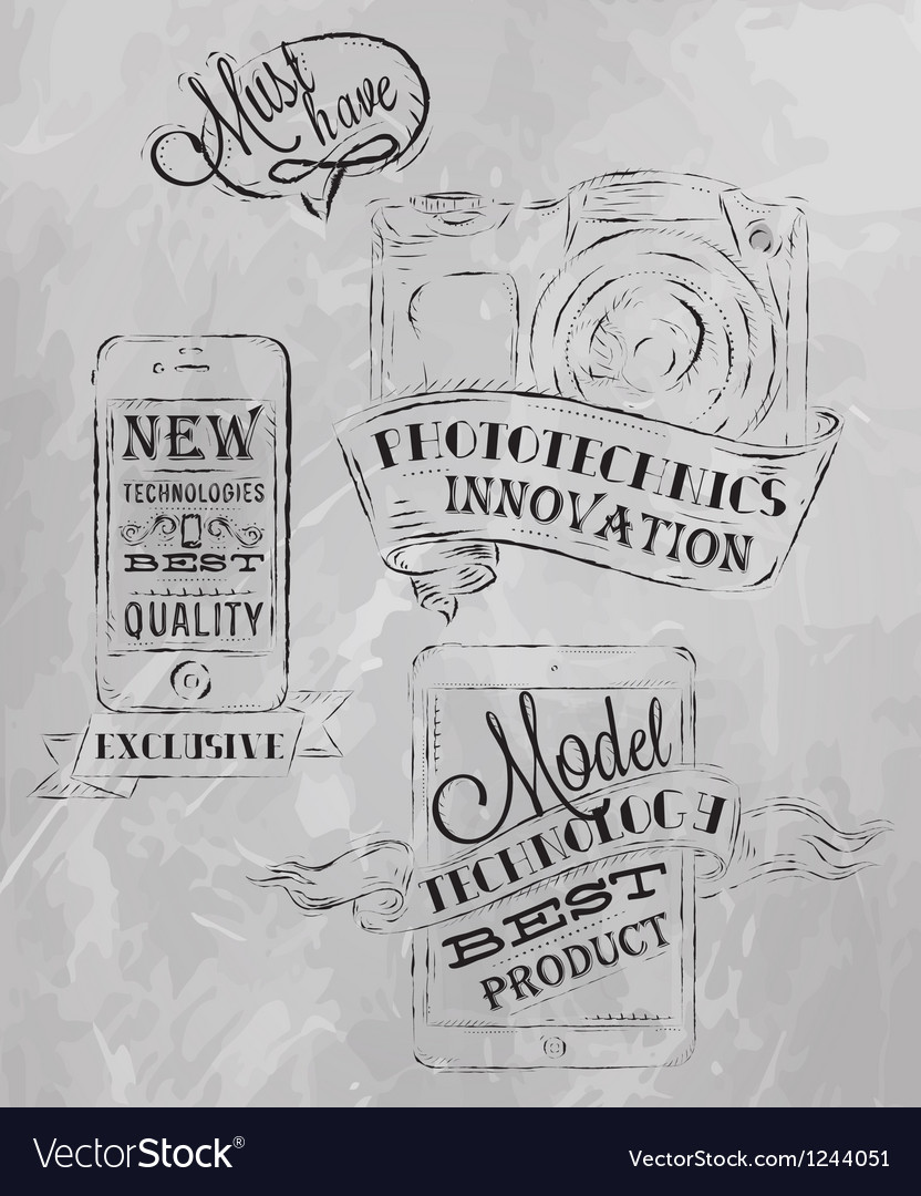 Ipad technologies chalk icons gray vector