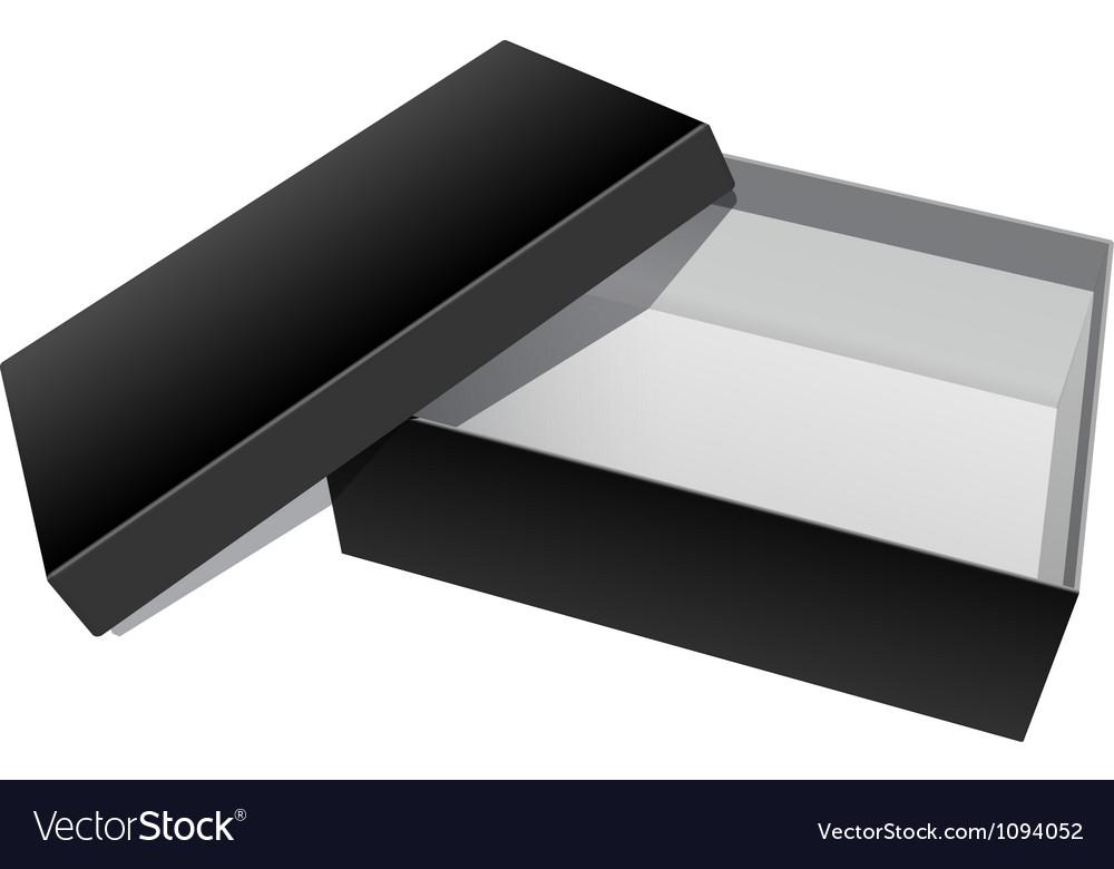 Black blank cardboard package box opened vector