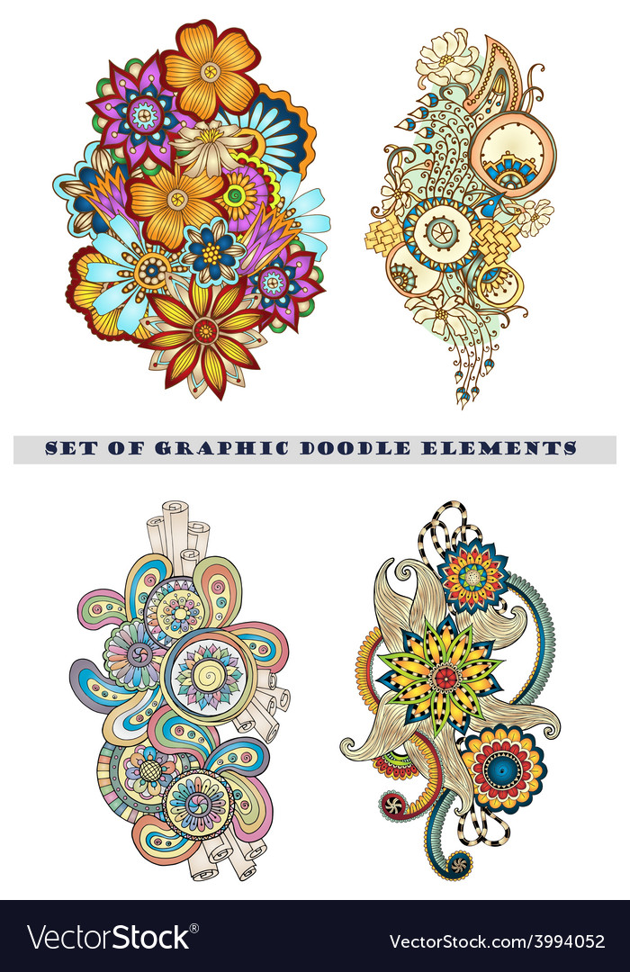 Set of henna paisley mehndi doodle element vector