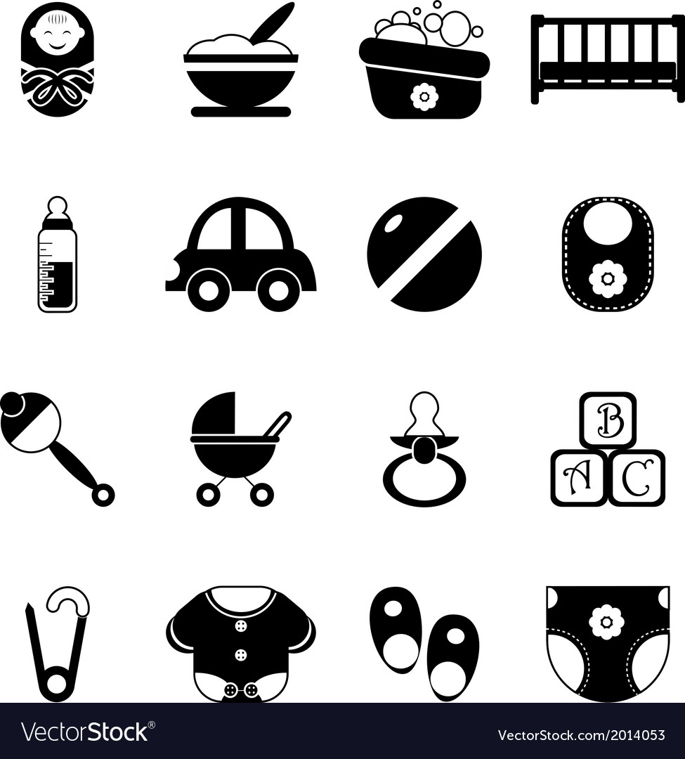 Baby childhood isolated silhouette icons symbols vector