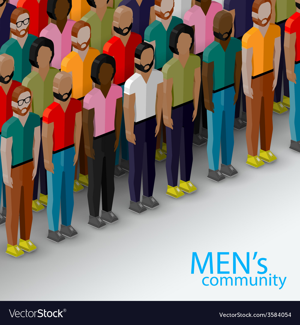 3d isometric of male community with a large group vector