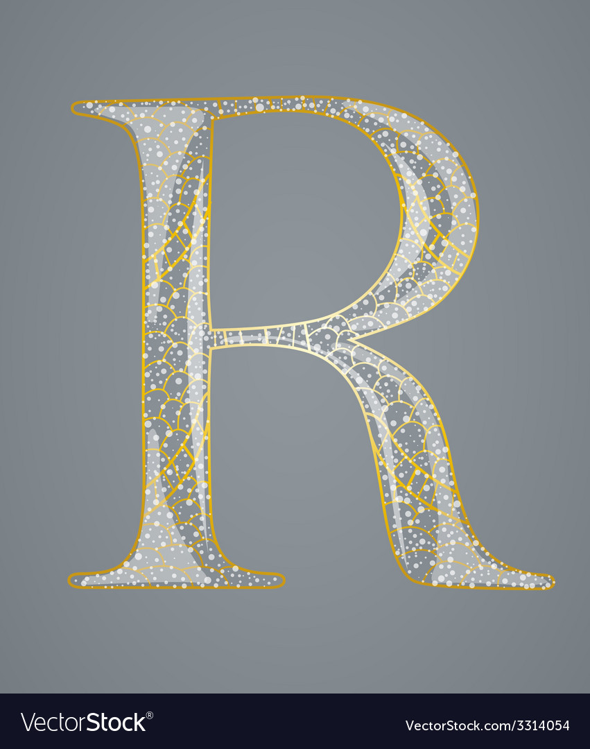 Abstract golden letter r vector