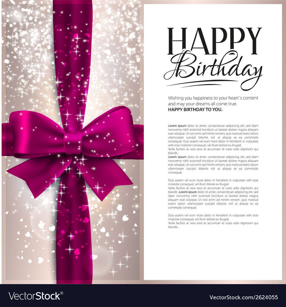 Birthday card with pink ribbon and birthday vector