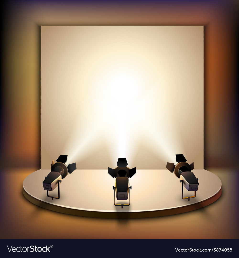 Stage with spotlights vector