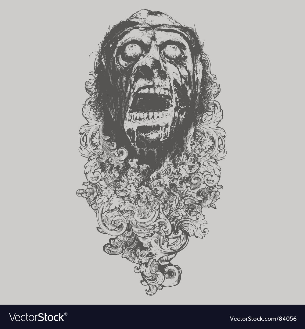 Floral zombie illustration vector